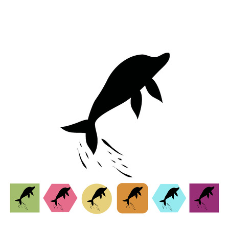 nature silhouette: Dolphin jump icon