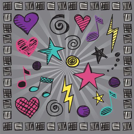 rock hand: Girly roccia a mano elementi di design Disegnato Vettoriali