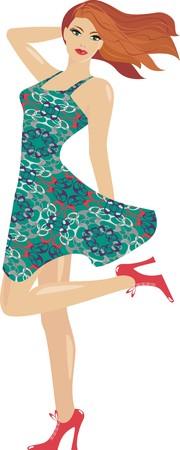 green hair: Girl  in  dress