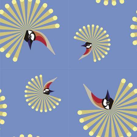 tuft: Crowned crane   background  Illustration