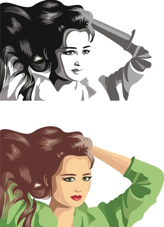 airiness: Girl   with   flowing hair  Illustration