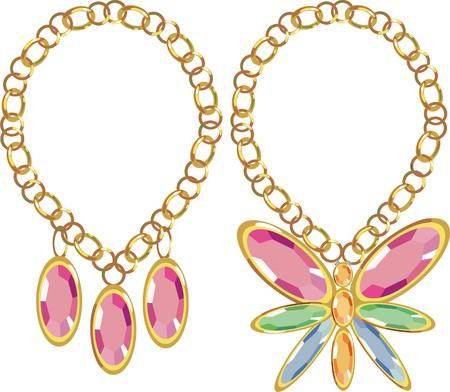 collares: Conjunto de piedras preciosas en oro