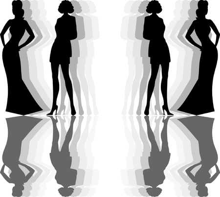 silhouette and a reflection of women with model proportions Illustration