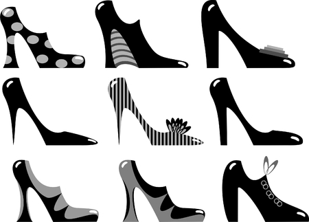 fashionable ladies shoes in black and white Vector