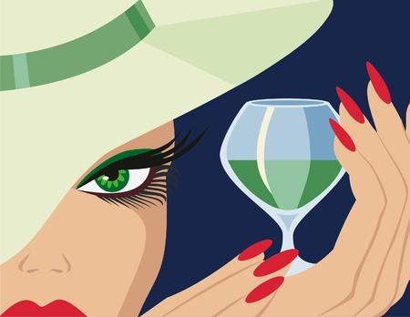 liqueur: Lady with a glass of liqueur Illustration
