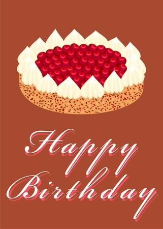 Cake with cherry       Stock Vector - 7299002