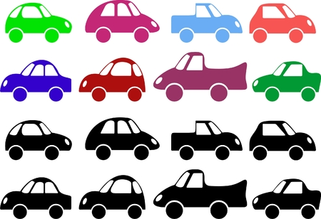 background with an image of colored cars Stock Vector - 7353287