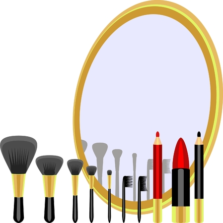 reflection in mirror: set for makeup of brushes, pencils, lipstick and a mirror