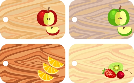 chopping boards from different wood 矢量图片