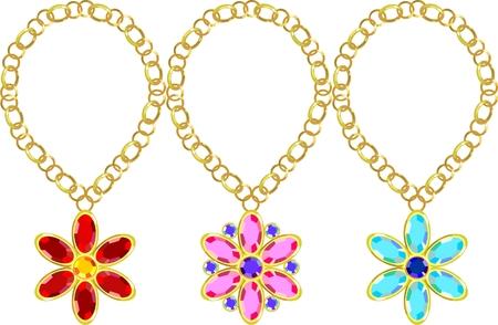 precious stones: Precious stones set in gold