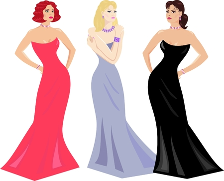 evening dress: evening gowns and makeup for women of all types Illustration