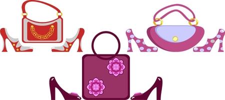 gold woman: footwear and handbag