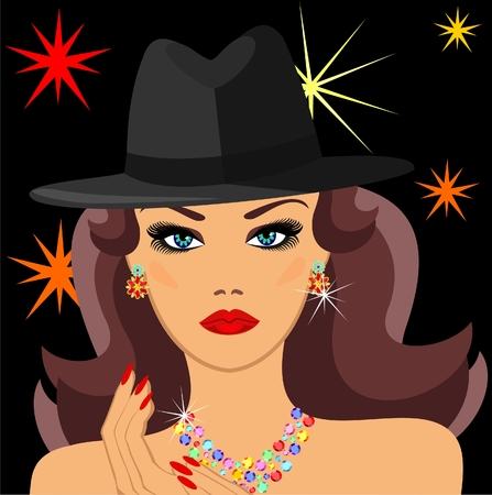 earring: glamorous lady in the jewelry and a hat