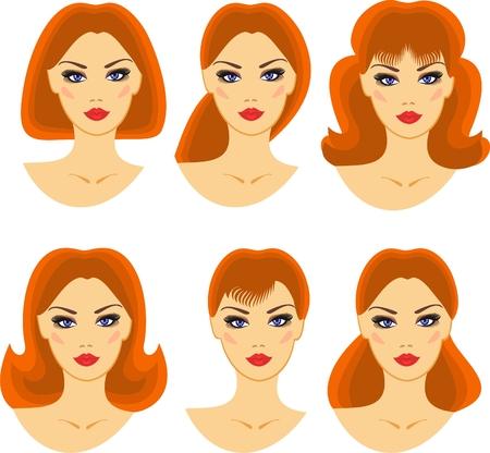 eyebrow makeup: acconciature per una giovane ragazza con i capelli rossi Vettoriali