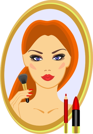 sample makeup and a brush for blush Stock Vector - 8152087