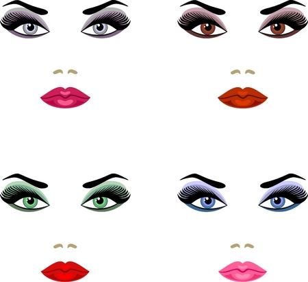 visage: maquillaje para ojos de colores diferentes  Vectores