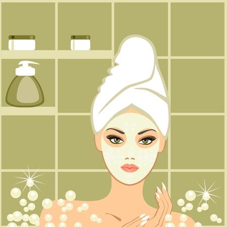 young girl bath: Spa beauty ,  mudpack