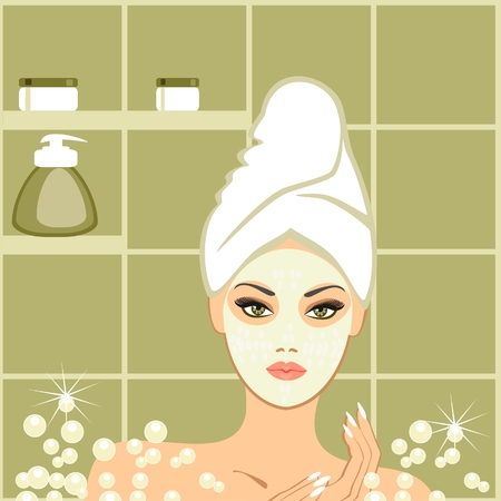 frau dusche: Spa-Beauty, Schlammpackung Illustration