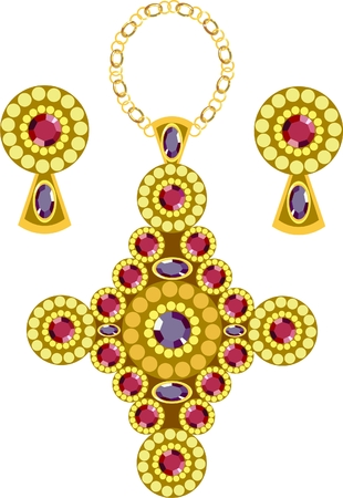 diamond-shaped pendant  with earrings
