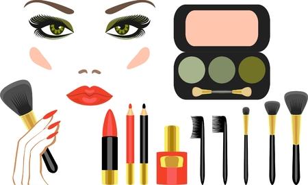 lens brush: complete set of makeup Illustration