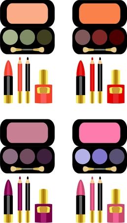 yeux maquill�: ensemble complet de produits de maquillage Illustration