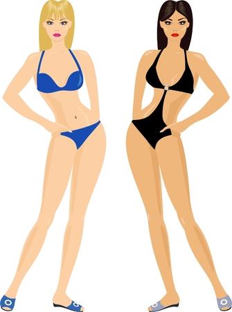bending: blonde and brunette in bikini fashion Illustration