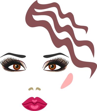 visage: maquillaje para las con ojos marrones Vectores