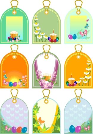 Easter tags  with eggs and cake  Vector