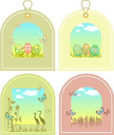 Easter tags with eggs  Vector