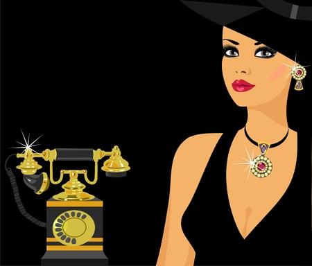 glamorous lady with vintage telephone