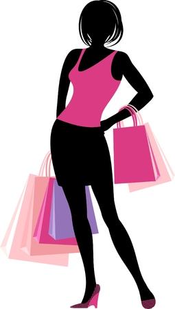 Silhouette of shopping girl