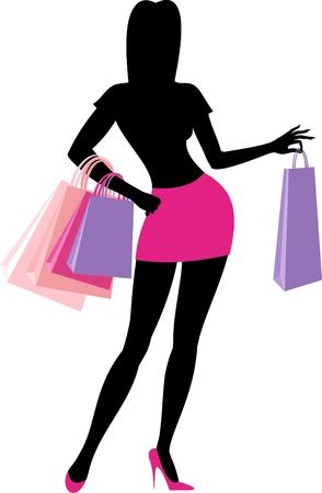 Silhouette of shopping girl Vector