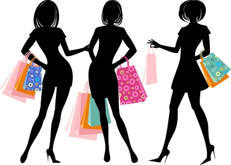 Silhouette of shopping girl Vector