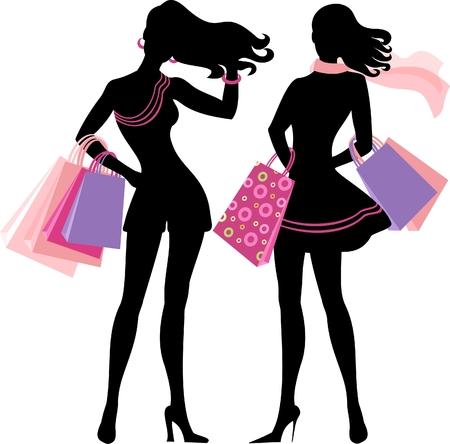 shoppen: Silhouette der shopping girl