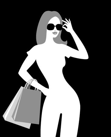 bending: Silhouette of shopping girl
