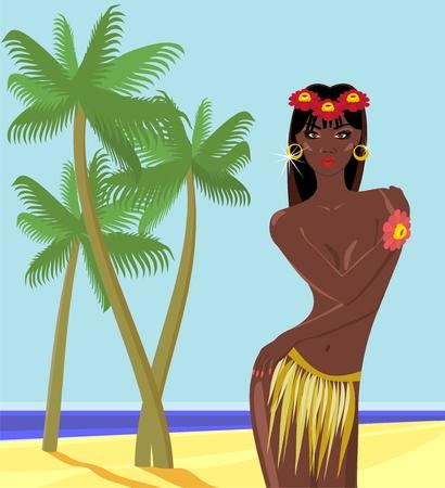African girl on the beach Vector