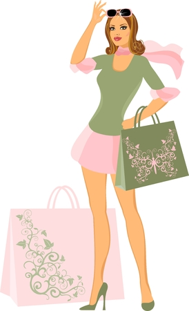 shopping woman  Stock Vector - 8922610