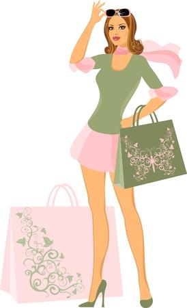 shopping woman Stock Vector - 8922610
