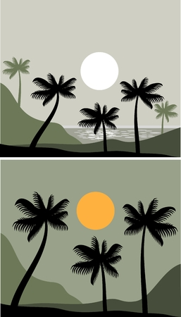 landscape with sunset on a palm beach Stock Vector - 8922609