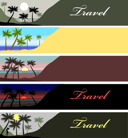 banner with Sunset at Palm Beach Stock Vector - 8922613