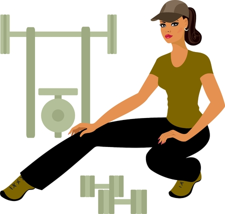 athletic girl stretches muscles in the fitness  Vector