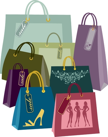 shopping bags in different colors and sizes Иллюстрация