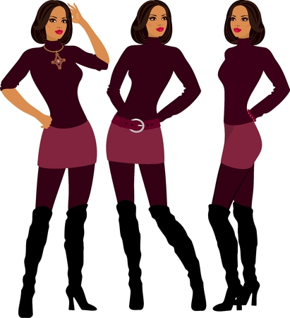Fashion model in different poses Vector