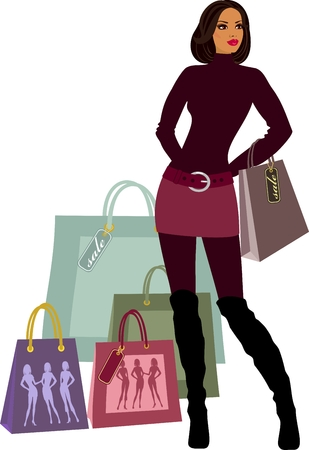 shopping women with model proportions Vector