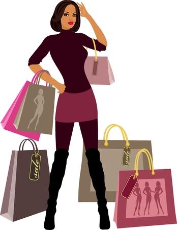 bolsa de regalo: mujeres compras con proporciones de modelo
