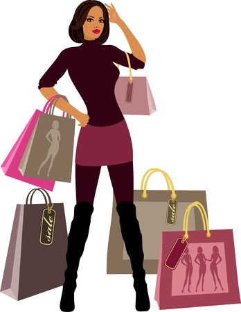 shopping women with model proportions Stock Vector - 8922653