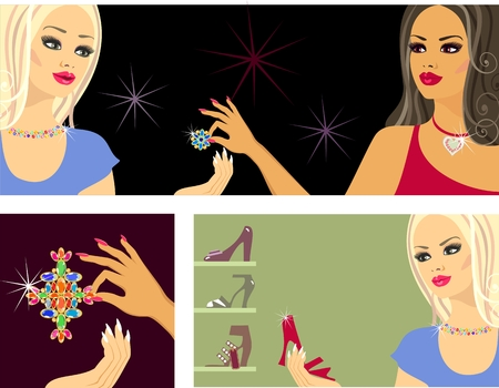 glamorous blonde makes a purchase Stock Vector - 8922660
