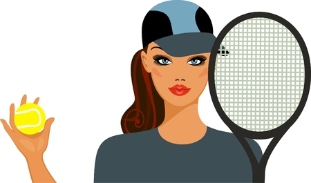 Athletic girl with a tennis ball  and  racket Vector