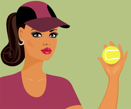 tennis girl: Athletic girl with a tennis ball   Illustration