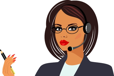 face with headset: businesswoman Illustration